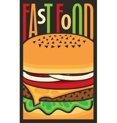 for fast food restaurant with cheeseburger vector image vector image