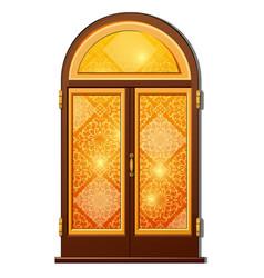 orange door with oriental ornament vector image vector image