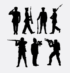 Soldier army and police silhouette 1 vector image