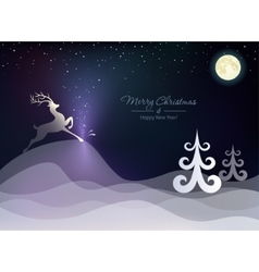 Christmas winter landscape with a deer vector image vector image