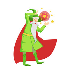 magic witch wizard in action with crystal ball vector image