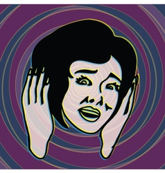 OMG retro scared girl screaming with terror vector image
