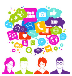 people group over social media icons on white vector image vector image