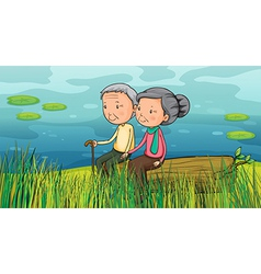 Two old people sitting near the lake vector image
