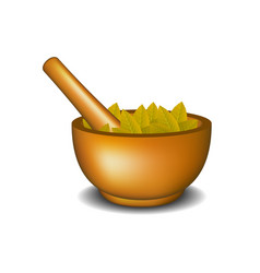 wooden mortar with pestle and brown leaves vector image