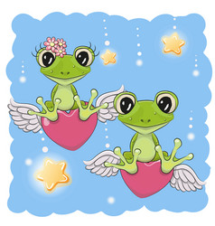 cute lovers frogs vector image