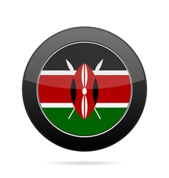 Flag of kenya shiny black round button vector