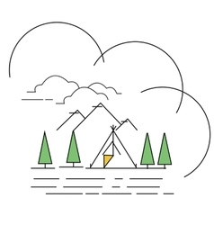 line style landscape mountain with vector image vector image