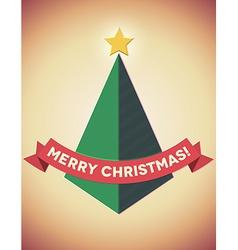 Retro styled geometric christmas tree vector image