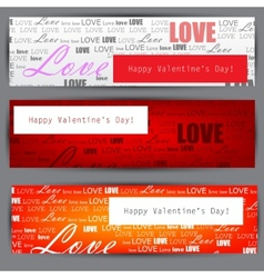 set of three stylized banners valentines day backg vector image vector image