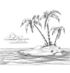 Tropical island sketch vector image