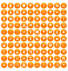 100 kids games icons set orange vector image