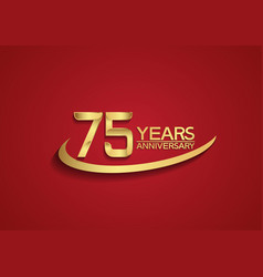 75 years anniversary logo style with swoosh vector