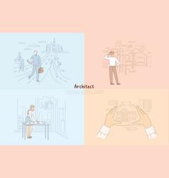 architect creative work process man walking vector image