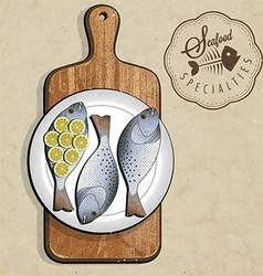 artistic fish dish design vector image