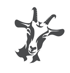 Black goat face stylized symbol agriculture vector