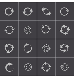black refresh icons set vector image