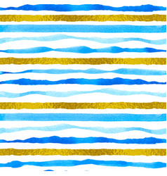 blue and golden striped watercolor pattern vector image