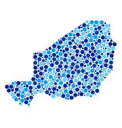 Blue dot niger map mosaic vector