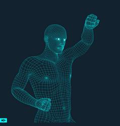 Boxer fighting man 3d model of man sport symbol vector