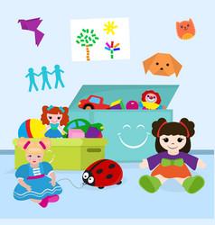 Boxes full toys for girl vector