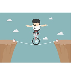 Business balancing on rope vector
