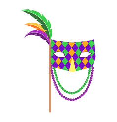 Carnival mask with handle and feathers flat vector