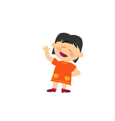 Cartoon character asian girl greeting vector