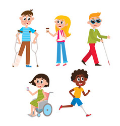 cartoon people with injuries and disabilities vector image