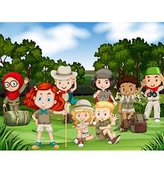 Children hiking in woods vector