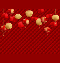 chinese lanterns on traditional oriental pattern vector image