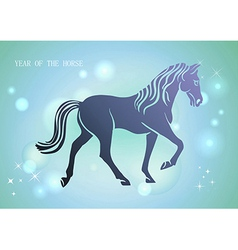 chinese new year horse 2014 blue background vector image