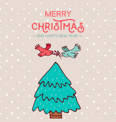 christmas and new year birds on pine tree cartoon vector image
