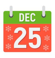 christmas calendar flat icon christmas vector image