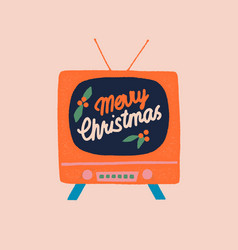 Christmas card with vintage tv vector