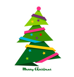 Christmas tree style paper art bright vector