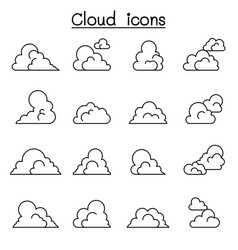 cloud icon set in thin line style vector image