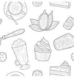cocoa products seamless pattern chocolate vector image