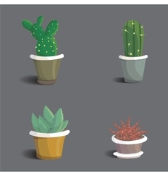 Collection of abstract cactuses in flower pot vector image