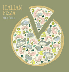 Colorful of italian pizza seafood vector