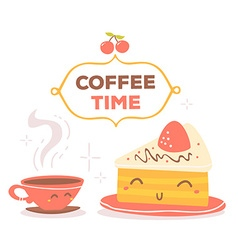 Colorful red and yellow coffee theme smil vector