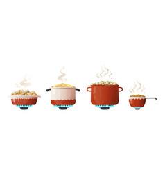 Cooking pot cartoon saucepan and kitchenware vector