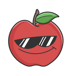 Cool sunglasses red apple cartoon apple vector