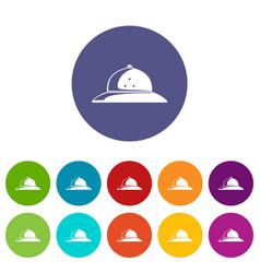 cork helmet icons set color vector image