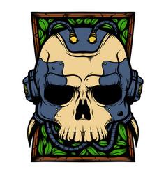 Cyborg robot skull vector