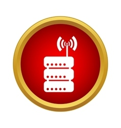 Database and wi fi sign icon simple style vector