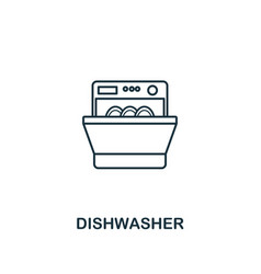 dishwasher icon thin style design from household vector image