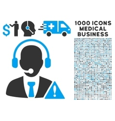 emergency service icon with 1000 medical business vector image