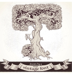 Fable forest hand drawn by a vintage font - T vector