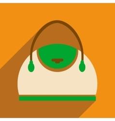 Flat icon with long shadow leather handbag vector